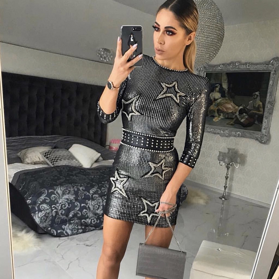 Adyce 2019 nouveauté femmes hiver célébrité piste robe de soirée Sexy trois quarts manches Sequin Mini luxe Club robe Vestido