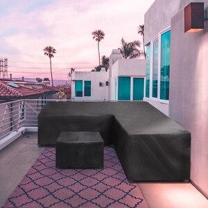 Image 5 - Meble ogrodowe rattanowe narożne pokrycie zewnętrzne V kształt wodoodporna Sofa Protect Set pokrowce na sofy pokrowiec na meble ogrodowe