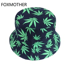 FOXMOTHER New Punk Hip Hop Outdoor Green Black Color Leaf Weed Bucket Hats Mens