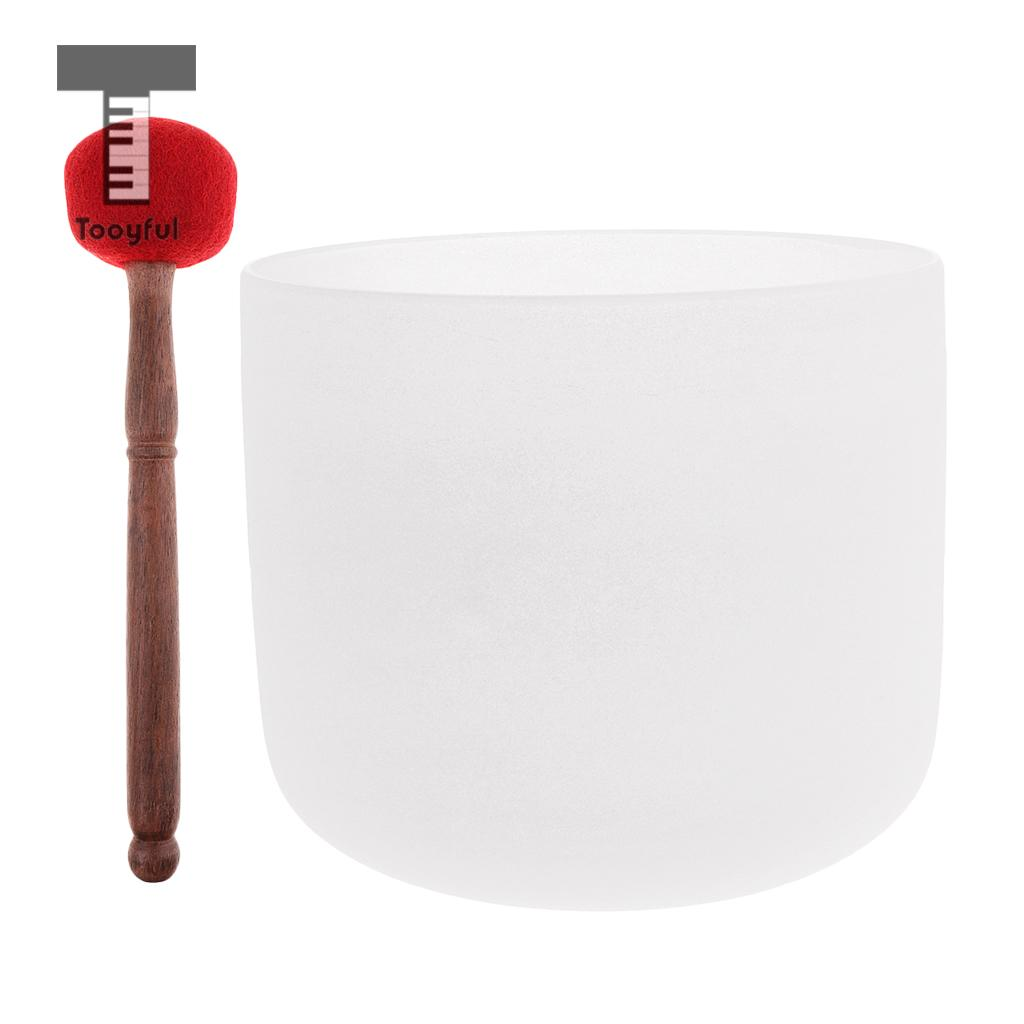 Crystal Singing Bowl C Note for Root Chakra Frosted Quartz 7 Inch White Perfect Sound with Felted Mallet topfund red color perfect pitch c adrenals chakra frosted quartz crystal singing bowl 10 with free mallet and o ring