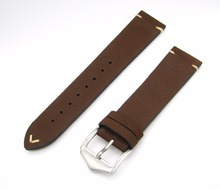 купить 20 22mm 2016 Men Women Genuine Cowhide Suede Leather Dark Brown Luxury watchband Strap Belt Silver Polished Pin Buckle Best Gift по цене 700.16 рублей
