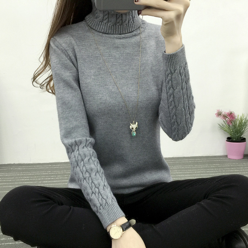 Ladies sweater 2018 Winter fall warm bra high collar down jacket long sleeve lady sweater double needle flower knitted sweater