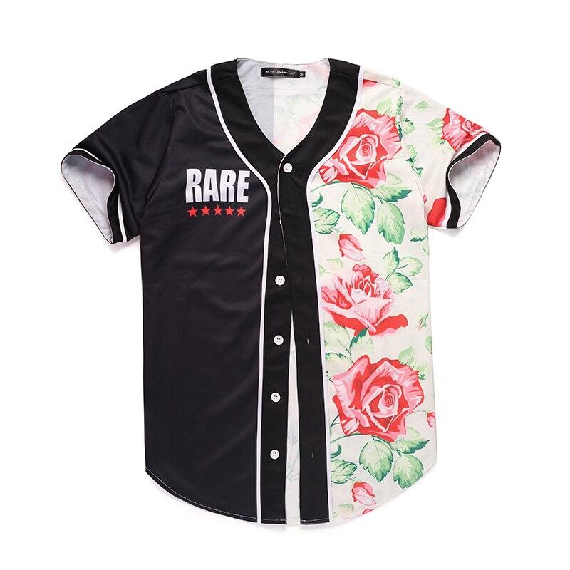 sports shoes 9dc75 f35e9 US $23.99 |Flower Fashion Design Baseball Jerseys 3D Baseball Shirts  Men/Women Casual Slim Fit Tee Tops Summer Short Sleeve V Neck T shirt-in  T-Shirts ...