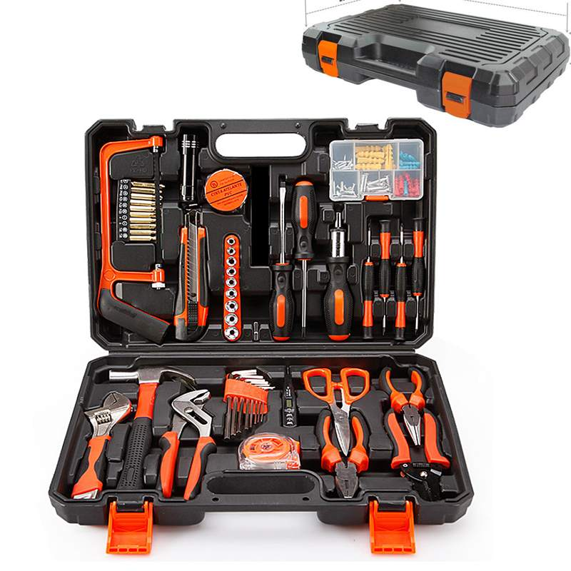 102 PCS Electric Hand Tool Set Box General Household Repair Tool Kit With Plastic Toolbox Storage Case Socket Wrench Screwdriver