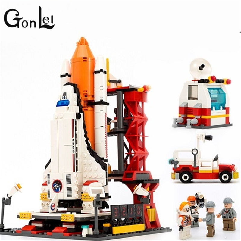 GonLel GUDI 8815 City Spaceport Space Shuttle Building Block Sets 679pcs Space Center DIY Bricks Educational Classic Toys gudi city space center rocket space shuttle blocks 753pcs bricks building blocks birthday gift educational toys for children