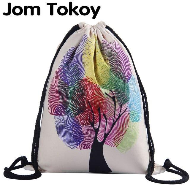 Jom Tokoy 3D Printing Colorful tree Woman Drawstring Bag Fullprinting Girls Drawstring  Backpack