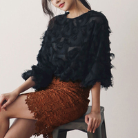 New design autumn women garment fashion office lady's three quarter puff sleeve white O neck feather lace blouse shirts woman