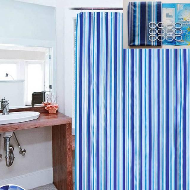 180x180cm Bathroom Curtain Luxury Stripe Mould Resistant Waterproof Bath Shower With 12pcs Plastic Hooks