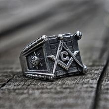 цена на Vintage Classic Freemasons Stainless Steel Ring Sun and Moon Totem Masonic Jewelry Gift for Men