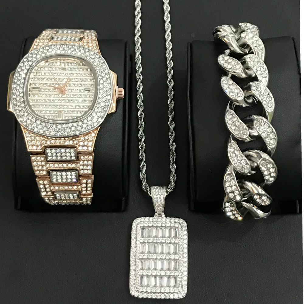 Luxury Hip Hop Diamond Watch Men Jewelry Stylish Watch & Bracelet & Necklace &Combo Set Shining Pendant Ice Out Cuban Bracelet