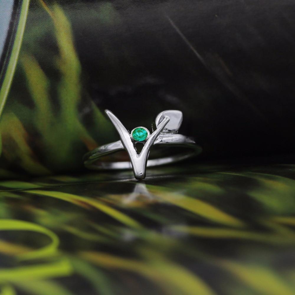 Vegan Jewelry Green Stone Vegetarian Symbol Ring Gift For Birthday Housewarming YLQ0309