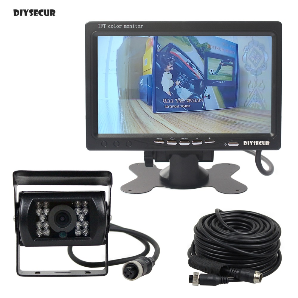 DIYSECUR AHD 7inch LCD Car Monitor Rear View Monitor Waterproof Night Vision 960P AHD Rear View