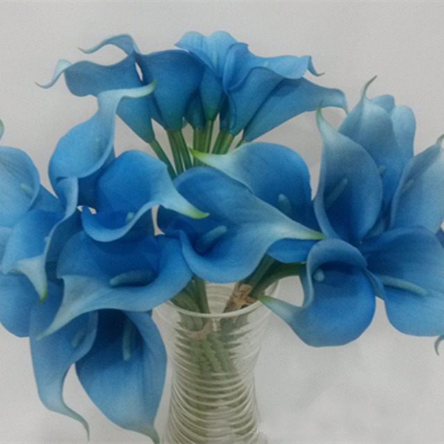 Aliexpress buy tuquoise calla lily bouquet 9 stems mini calla tuquoise calla lily bouquet 9 stems mini calla lily bouquet dark blue calla lilies bridal bouquet mightylinksfo