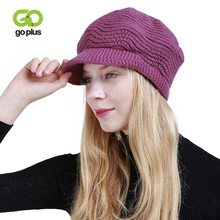 GOPLUS 2019 Spring Winter Knitted Visors Women Fashion Flocking Brand Hat Girl Casual Beanies Solid Cotton Thick Warm Cap Female