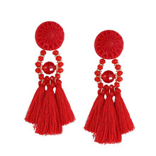 Best Price Fashion Bohemian Earrings Women Long Tassel Fringe Earrings Jewelry