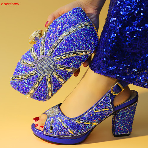 doershow blue Shoes and Bag To Matching African Shoes and Bag Set For Party Nigerian Women Fashion Shoes and Bags! HXN1-13doershow blue Shoes and Bag To Matching African Shoes and Bag Set For Party Nigerian Women Fashion Shoes and Bags! HXN1-13