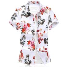 Mens Shirts Floral Short sleeve Casual Hawaiian Shirt Men Blouse Clothing Beach style Summer