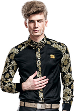 New fashion casual male men's Large size Insert Long Sleeved Shirt