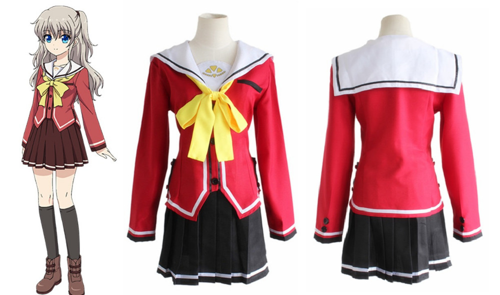 track An Indispensable Sovereign Remedy For Home Collection Here Charlotte Tomori Nao Yusa Nishimori School Uniform Cosplay Costumes Sailor Dress skirt tie