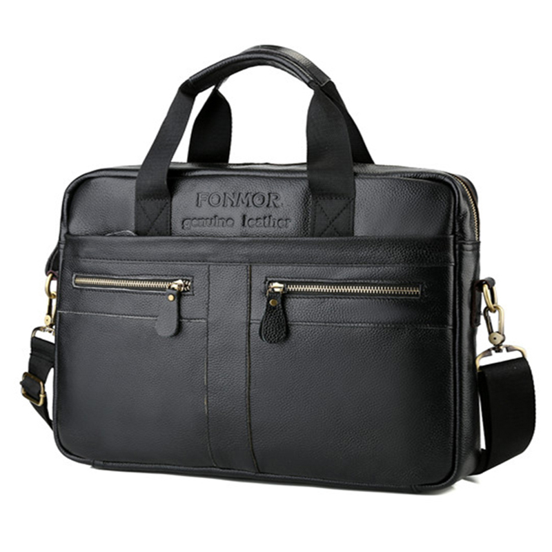 Real Cowhide Leather Men's Bags Briefcases High Quality Business Laptop Tote Shoulder Bags For Male Luxury Layer Leather Handbag