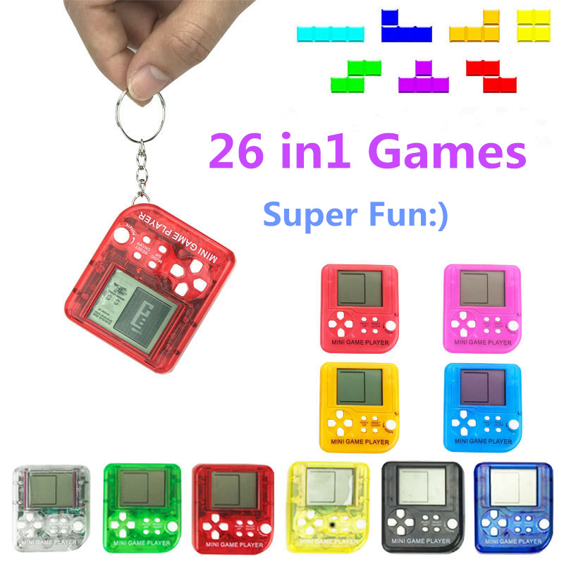 Portable Mini Tetris Game Console  Keychain LCD Handheld Game Players Children Educational Electronic Toys Anti-stress Keychain