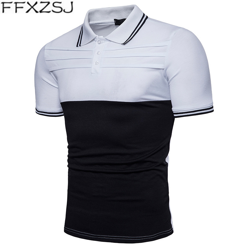 FFXZSJ 2019 Patchwork Striped Printed Summer   Polo   Shirts Male Turn-down Collar Short Sleeve Shirts Man Business camisetas hombre
