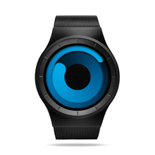 Creative Unique Gradual Turntable Swirl Watches Stainless Steel Strap Mesh Quartz Sport Watch Men Blue Ocean Style Unisex Gifts