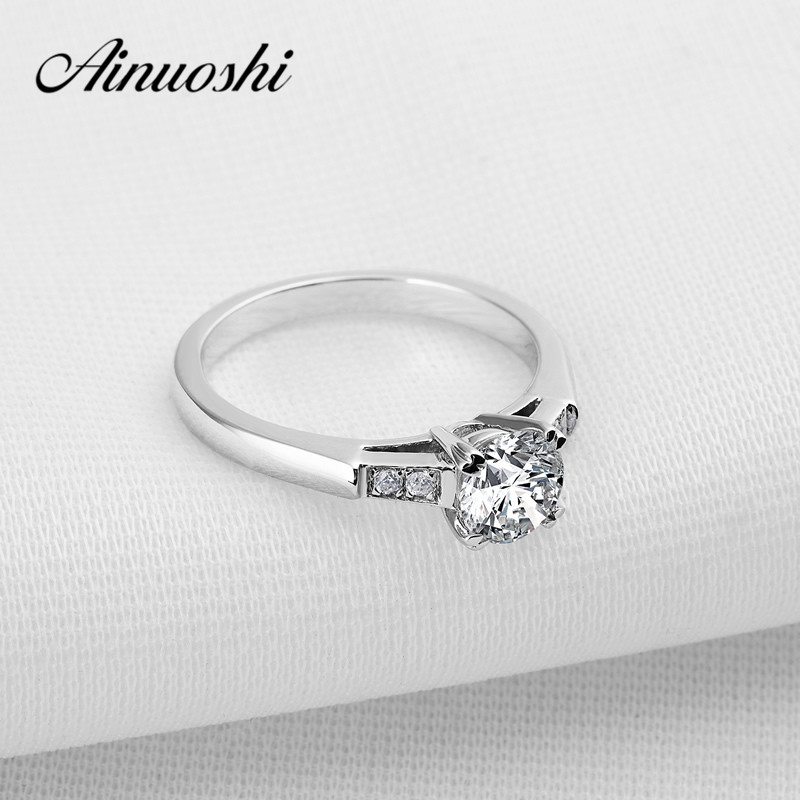 AINOUSHI Never Fading Real 925 Sterling Silver Ring Women 1 Ct Sona Engagement Promise Ring Wholesale Wedding Jewelry