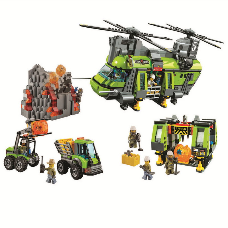 10642 BELA City Volcano Heavy-Lift Helicopter Model Building Blocks Classic Enlighten Figure Toys For Children Compatible Legoe 10639 bela city explorers volcano crawler model building blocks classic enlighten diy figure toys for children compatible legoe