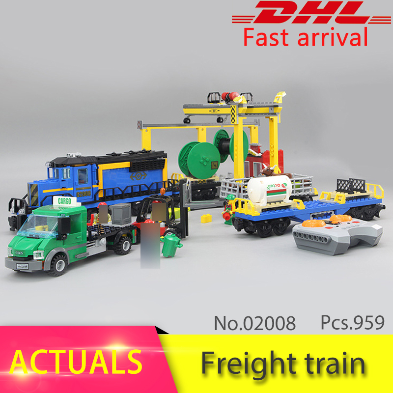 LEPIN City Series 02008 959pcs The Cargo Train Set Model Building Blocks set Bricks Toys For Children compatible 60052 Gift lepin 02006 815pcs city series police sea prison island model building blocks bricks toys for children gift 60130