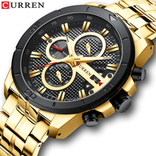 CURREN Luxury Golden Stainless Steel Sports Watch Men's New Chronos Date Wristwatches Casual Quartz Clock Military Male Relojes new curren watches luxury brand men watch full steel fashion quartz watch casual male sports wristwatch date clock relojes 8227
