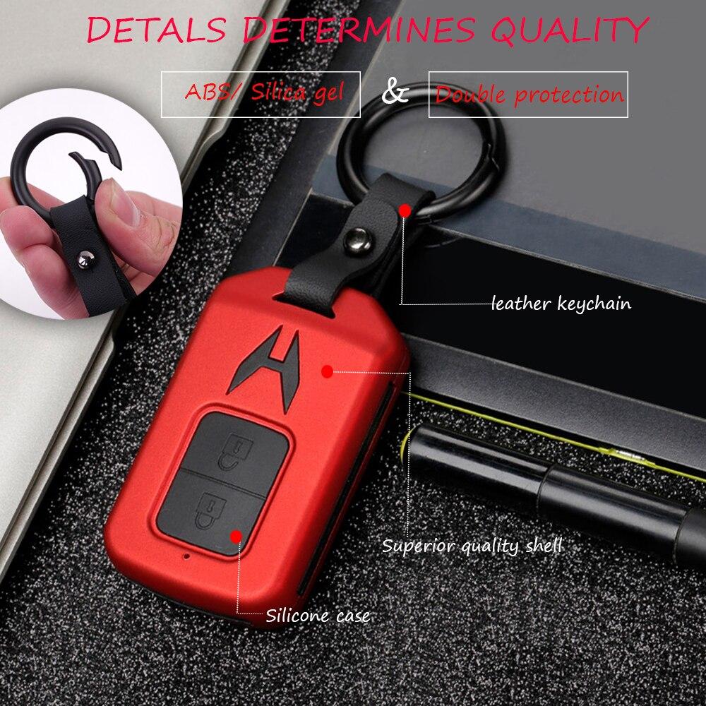 Black PU Leather Car Smart Remote Key Case Holder Chain Fob For Honda HR-V Vezel