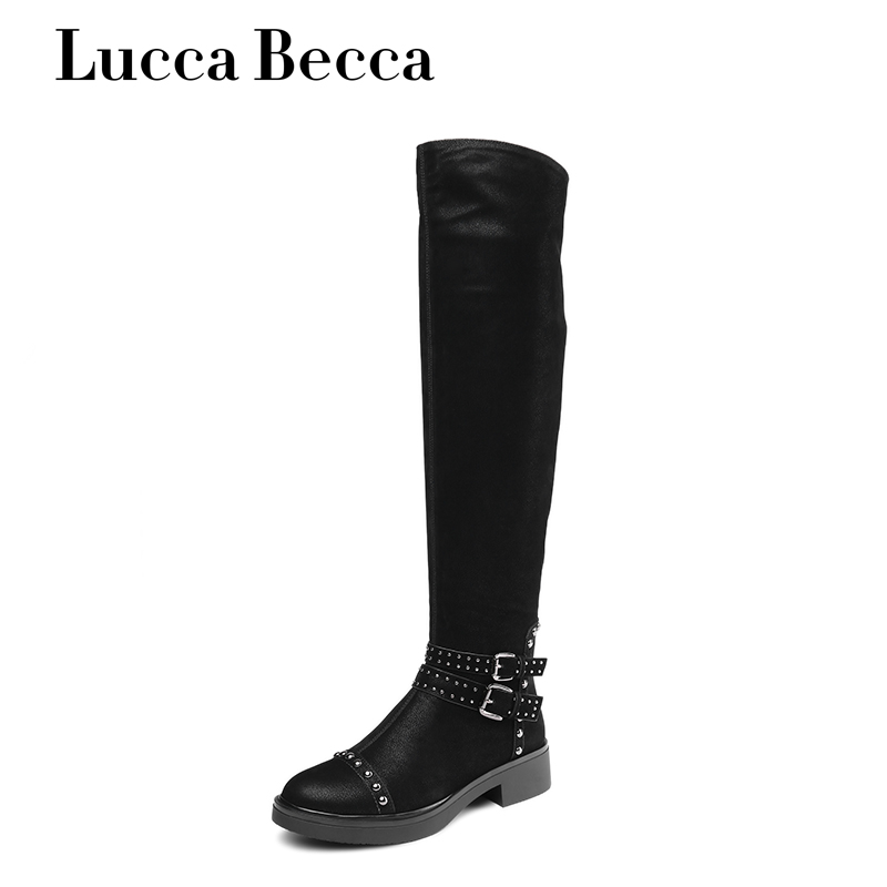 Lucca Becca Thigh High Boots Women Black Pu Leather Over Knee High Boots Winter Flats Shoes Women Rivets Winter High Boots Women e toy word autumn winter boots women over knee thigh high boots women flats long boots low heel suede leather women shoes