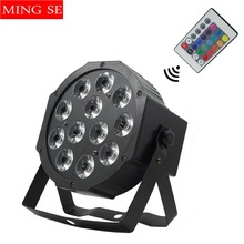 Fast Shipping 12x12w Remote flat par led Flat White Led Par Light 12*12W Smooth RGBW Color Mixing DMX 4/8 Channels Stage Wash цена