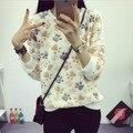 Осень 2016 Женщины Новая Мода Толстовки С Длинным Рукавом Кофты Женщины Утолщаются Фланель Пуловер Harajuku Медведь Лапы Печатных Верхней Одежды