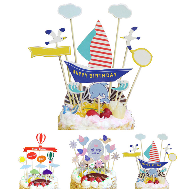 Segel Luftballons Vogel Kuchen Backen Decor Happy Birthday