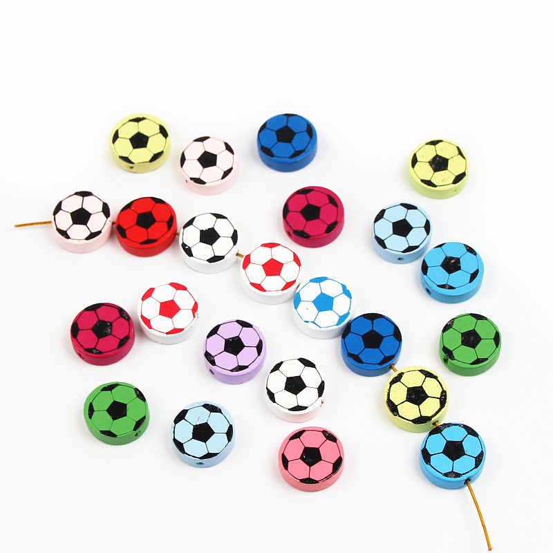 Sevimli Futbol Desen 20 Adet Kurşunsuz ahşap boncuklar Için Takı Yapma Aksesuarları Bilezikler DIY Zanaat Hediyeler Için Çocuk 20mm