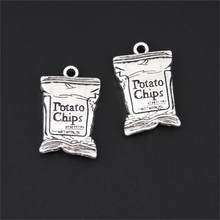 5Pcs Antique Sliver Potato Chips Charms Daily Snack Pendant Kids Gift Necklaces Earrings Diy Jewelry Dropshipping 25X16mm A3288(China)