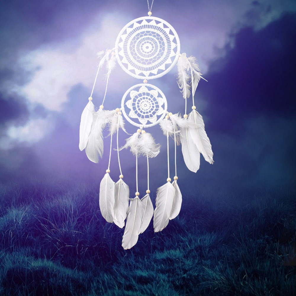 Color art dreamcatcher - New Arrival 2 Circles White Color Dreamcatcher Nice Gift Dream Catcher Net Natural Feathers Wall