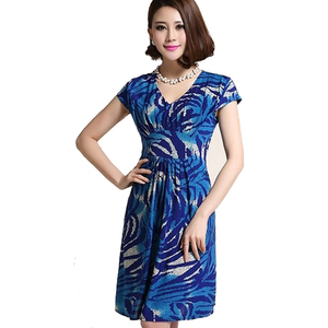 Women 2019 Women's Short Sleeve Printed A-line Work Dress V-neck Lady Flower Patchwork Office Sundress Vestidos Clothes