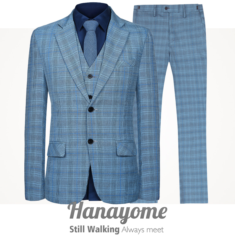 Hanayome Mens 3 PC Classic Two Buttons Blue Plaid Single Breasted Dress Suit