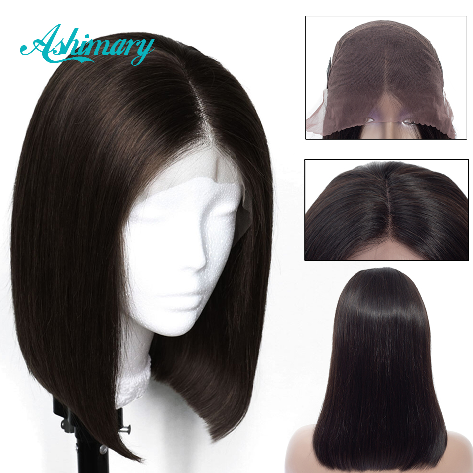 Ashimary Straight Hair Human-Hair-Wigs Lace-Front Brazilian Short 13x4 Remy-Bob