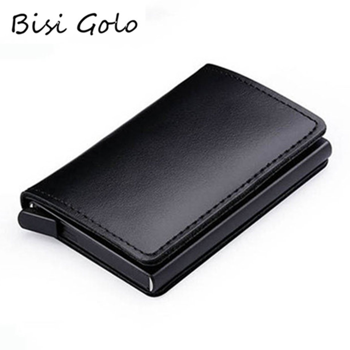 BISI GORO New Genuine Leather Wallet Slim Business Card Holder RFID Blocking Mini Purse Vintage Antitheft Organizer Card Wallet
