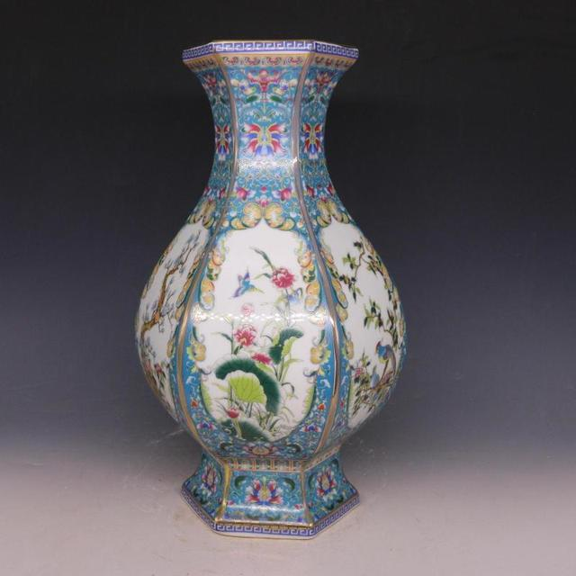 3 Antique Qingdynasty Porcelain Vaseenamel Color Six Parties Bottle