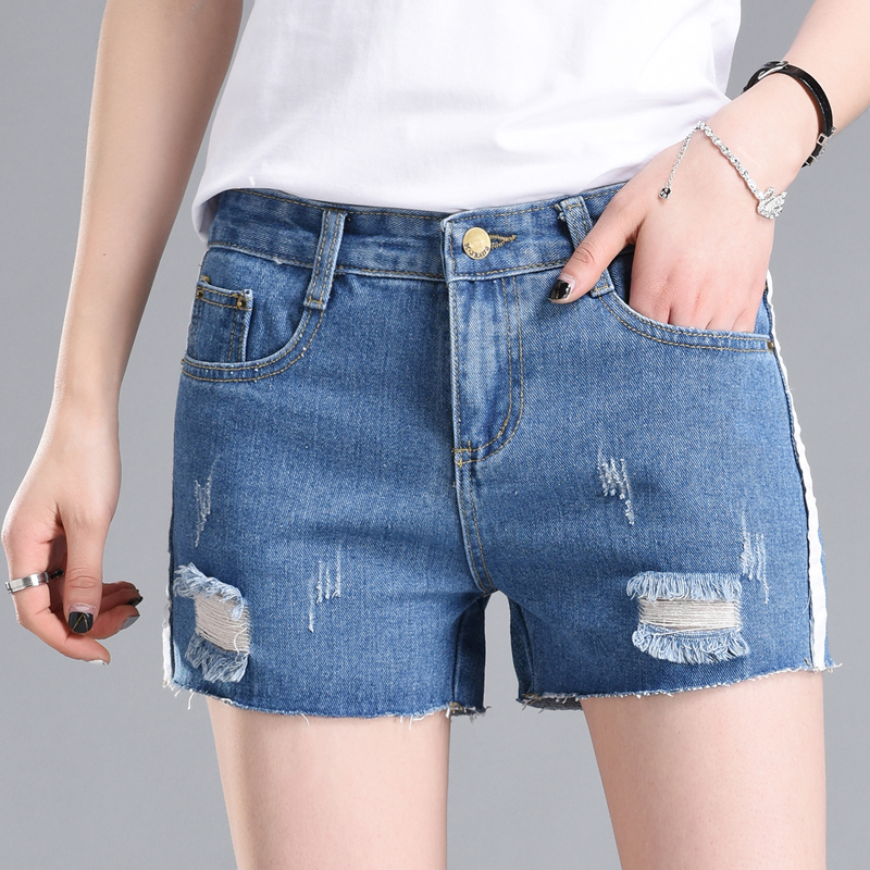 New Rippped Hole High Waisted Denim Female Plus Size Loose Wide Leg Jeans Fashion Women Short Trousers  PL3322
