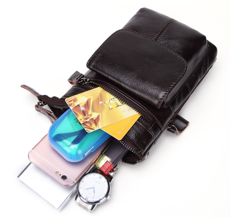 Genuine Leather Waist Pack Crossbody Bag for Men