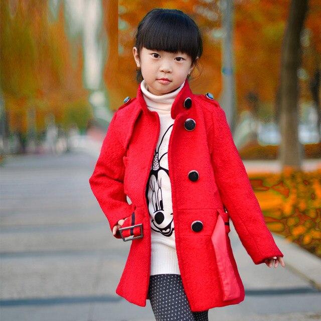 Шерсть Пальто для Девочек Зимой Дети Ветровка Мода Траншеи Осенью Младенческой Верхняя Одежда Пыльник Дети Теплая Одежда 8-14Y