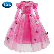 Disney Girls Cartoon Dress Fashion Cinderella Princess Dress Cute Lace Screen Gauze Butterfly decoration Dress