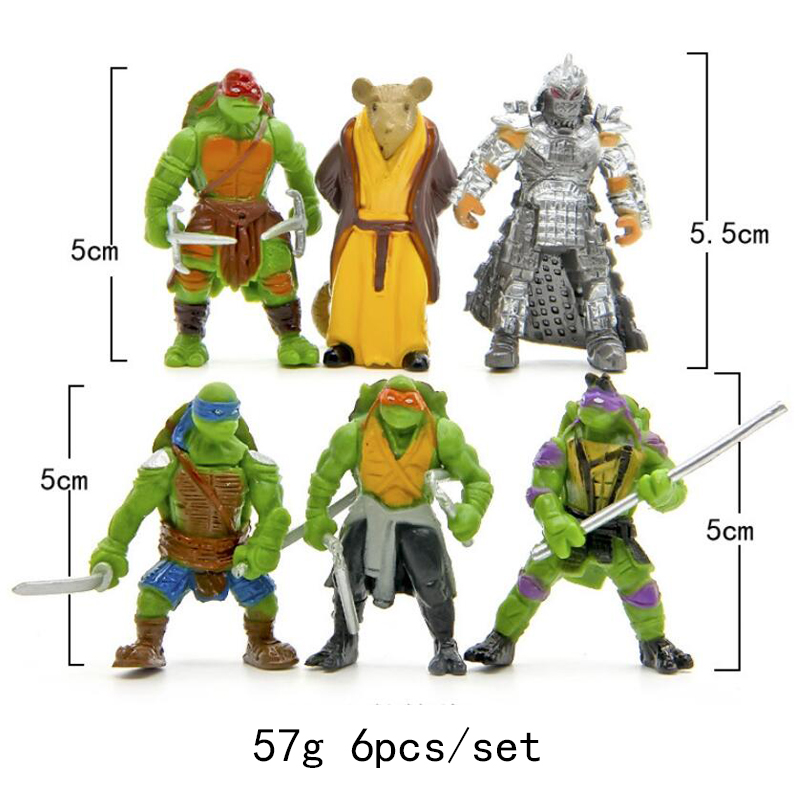 6pc/set Teenage Mutant Ninja Turtles Theme Cake Topper Dacoration Doll Boys Kids Happy Birthday Event Party Supplies Baby Shower
