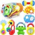 7 unids/set plástico colorido bebé mordedor sonajero 0-3 años de edad del bebé móvil toys regalo educativo brinquedo bebe de plástico alcancía tanque